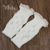 White Lace Button Boot Cuffs