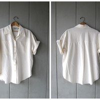 Oversized 80s White Blouse Soft Cotton Button Down Collared Shirt VENEZIA Minimal Slouchy Shirt Billowy Boho Tunic Top DES Womens XL