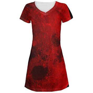 Halloween Blood Moon Juniors V-Neck Beach Cover-Up Dress