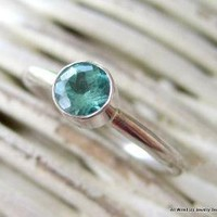 Sterling Apatite Stackable Ring by PPennee on Etsy