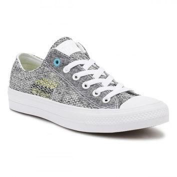 Converse All Star Chuck Taylor II Mens Ox White/Grey/Cyan Trainers