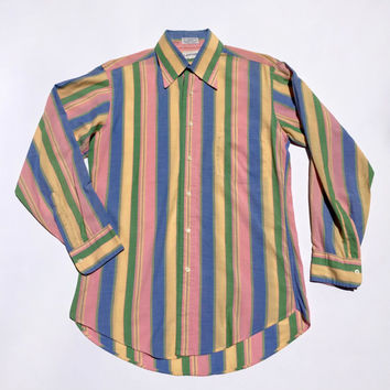 LANVIN!!! Vintage 1970s men's 'Lanvin' striped pastel cotton long sleeved dress shirt with button front and left chest pocket