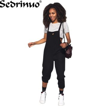 Casual Rompers Women loose Sleeveless bodycon Jumpsuit 2017 Long pants Overalls Black Red Strap Ripped Jumpsuit playsuit
