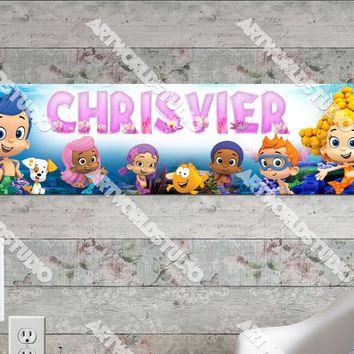 Personalized/Customized Bubble Guppies Poster, Border Mat and Frame Options Banner 147