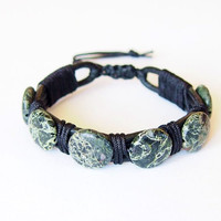 Jasper Kambaba Unique Black Leather Bracelet, Natural African Green Stone Handmade Jewelry, Unisex Mens Adjustable Bracelet, Leather Thong