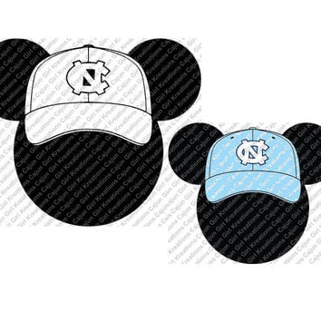 North Carolina Tarheels Baseball Mickey Mouse SVG Design Cutting Files for Craft Cutters Like Silhouette Included Files jpg, svg, png, psd