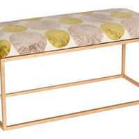 Moss Studio, Block Velvet Bench, White/Gold, Entryway Bench, Bedroom Bench