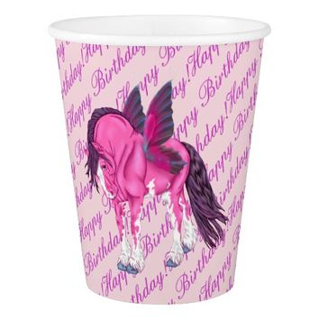 Pink Clydesdale Fantasy Fairy Horse Paper Cup