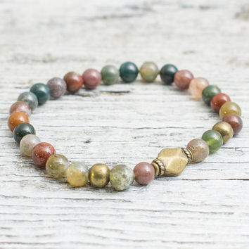 Indian agate beaded stretchy bracelet with bronze beads, mens bracelet, womens bracelet