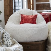 Ivory Sherpa Leanback Lounger Speaker Media Chair