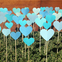 200 Tropical Aqua Collection Shabby Chic Hearts On A Stick - Wedding Aisle Decoration, Beach Wedding, Garden Wedding, Baby Shower decoration