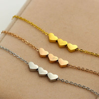 fashion women jewelry Korean female carving love three loving hearts Necklace 18K rose gold titanium bone chain short  chain