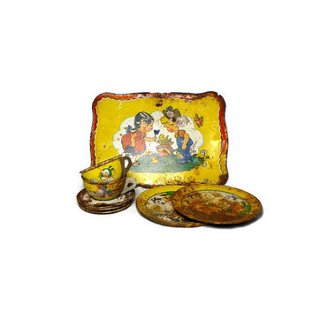 1930s J. Chein and Company / Ohio Art Tin Tea Set, Rusty Children's Tea Set with Krazy Kat and Disney Characters