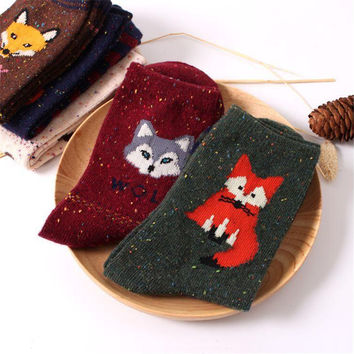 women vintage socks brand retro animals patterns rabbit wool socks autumn winter cute cartoon fox wolf warm cotton socks