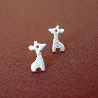 Tiny Giraffe Stud Earrings Sterling Silver Child Teen Mini BF Mom Cute Flower Girl Kawaii mom summer Christmas Halloween