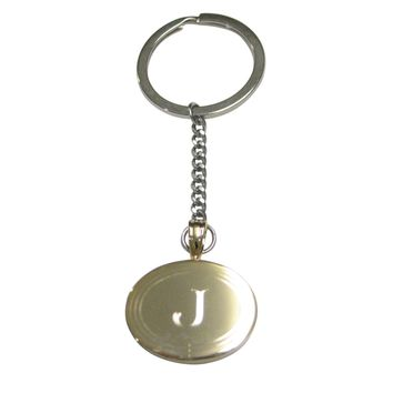 Gold Toned Etched Oval Letter J Monogram Pendant Keychain