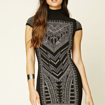 High-Neck Studded Bodycon Dress