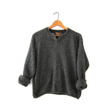 vintage army green speckled sweater. Cropped boxy sweater. henley sweater.