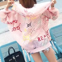Gucci Women Fashion Multicolor Letter Logo Print Cardigan Zip Long Sleeve Loose Hooded Sunscreen Clothes Coat