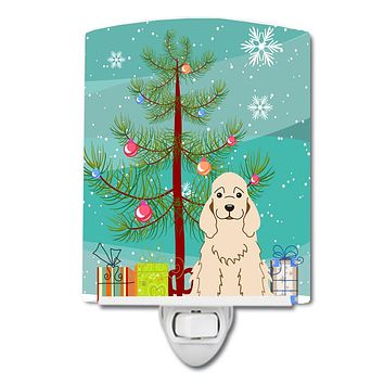 Merry Christmas Tree Cocker Spaniel Buff Ceramic Night Light BB4219CNL