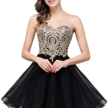 B| Chicloth A Line Lace Appliques Sweetheart Short Prom Dresses