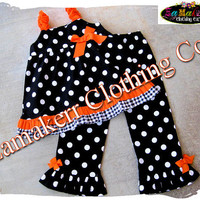 Custom Boutique Clothing Halloween Black Orange Costume Toddler Infant Baby Cute Pant Outfit Set 3 6 9 12 18 24 month size 2T 3T 4T 5T 6 7 8