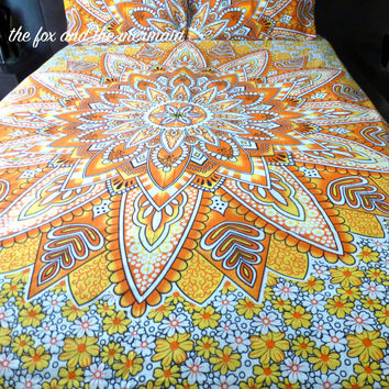 Yellow tapestry mandala quilt cover + 2 matching pillowcases,  Boho duvet cover + pillowcases, Roundie mandala doona cover+2 pillowcases