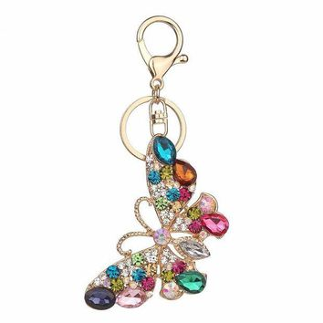 ac NOOW2 Rhinestone butterfly Keychain Fashion Accessories Charm Bag Pendant Key Chain Ring Holder Creative Jewelry Gift #40