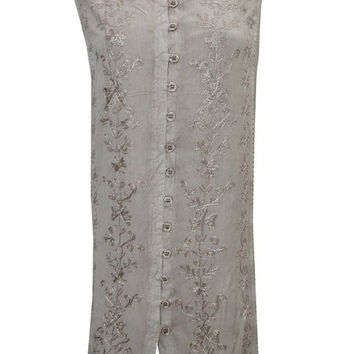 Mogul Shift Dress Peasant Grey Distressed Rayon Embroidered Sleeveless
