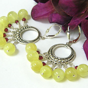 Yellow Chandelier Earrings Gemstone Handcrafted Silver Garnet Short