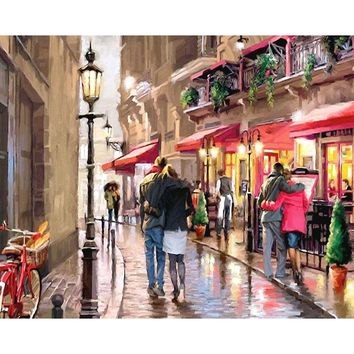 Unframed Romantic Street DIY Painting By Numbers Landscape Modern Wall Art Hand Painted On Canvas Kits For Home Decoration 40x50