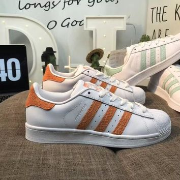 Adidas Superstar shell head shoes Orange men and women skateboard shoes