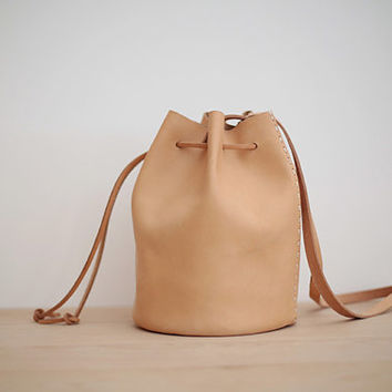joydivision vintage  Leather Bag / Leather Bucket Bag / Large Durable Drawstring Backpack Brown