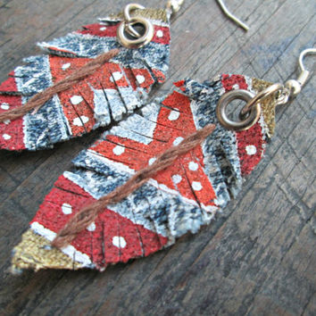 Native American Inspired Jewelry, Tribal Earrings, Faux Feather Earrings, Upcycled Denim Earrings, Boho Earrings, Independence Day Jewelry