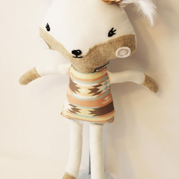 Ready to Ship - White Fox Tribal Aztec Ikat Stripes Feathers Woodland Stuffed Animal Doll