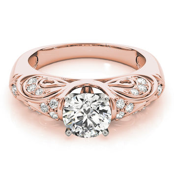 Engagement Ring -Vintage Filigree Diamond Engagement Ring in Rose Gold-ES2108RG