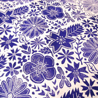 Purple Floral Block Print Wrapping Paper-- Handmade