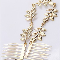 Gold Metallic Leaves Hair Clip