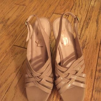 Authentic YSL Nude/ Gold Wedges sz7
