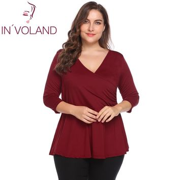 IN'VOLAND Plus Size 4XL Women's Vintage T-Shirts Tops Autumn V-Neck Solid Slim Fit Pullovers Large Peplum Tshirt Tees Big Size