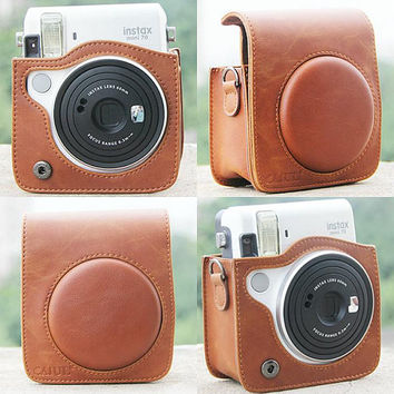 Fujifilm Instax Mini 70 Camera Bag Brown Leather Protection Case