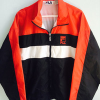 vintage red, white & black FILA windbreaker / large