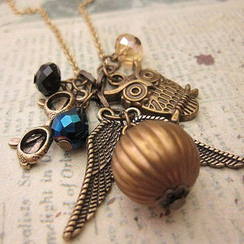 Harry Potter Snitch Necklace with crystals, owl and eye glasses
