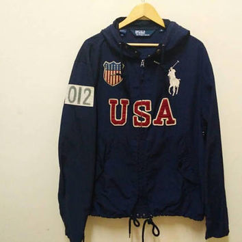 Polo Ralph Lauren Hoodie windbreaker Big Logo USA spellout American flag Embroidery vintage