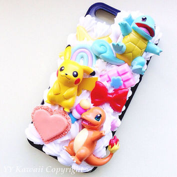 Custom Kawaii Pokemon Charmander Decoden Phonecase for Iphone 4/4s 5, Samsung Galaxy S5 S3 S4, HTC One