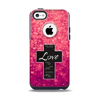 The Love is Patient Cross over Unfocused Pink Glimmer Apple iPhone 5c Otterbox Commuter Case Skin Set