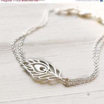 $27.70 Spring SALE Sterling Silver Peacock Feather Bracelet by burnish