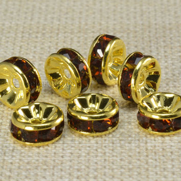 rhinestone crystal separators - jewelry hardware supply - rhinestone brass spacer beads - gold tone spacers - 4-12mm,-100pcs