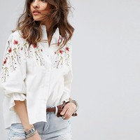 Boohoo Embroidered Blouse With Balloon Sleeves at asos.com