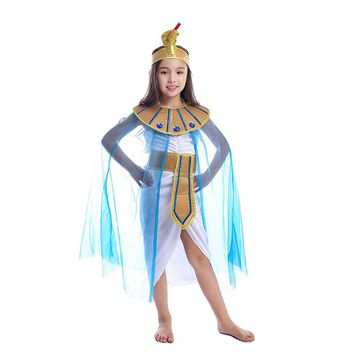 Girls Egyptian Queen Cleopatra Kids Little Royal Historical Cosplay Costume To Be A Powerful Ruler This Halloween